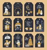 Set of Christmas ready to use tags with Xmas. Collection of Christmas ready to use tags with Santa Claus, white snowman near gift box, wolf with sparkler, fox on royalty free illustration