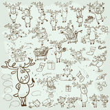 Collection of Christmas Reindeer  Royalty Free Stock Images
