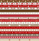 Collection of christmas ribbons, red, white, brown and beige, vector illustration Stock Photography