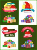 Collection of Christmas Sale Promo Stickers Hats. Collection of Christmas sale promo stickers with hats, advertisement text on ribbon and piles of packed Royalty Free Stock Image