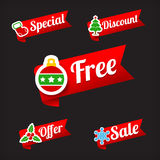 030 Collection of Christmas Sale red and green web tag banner pr Royalty Free Stock Image