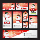 Collection of christmas sale with snowman web tag banner promoti Royalty Free Stock Images
