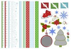 Collection of christmas scrapbook decors Royalty Free Stock Photo
