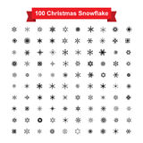 Collection of 100 Christmas snowflake isolated on white  Royalty Free Stock Photography
