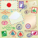 Collection of Christmas stamps, envelops, labels - Royalty Free Stock Photo