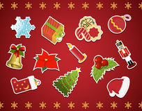 Collection of christmas stickers Royalty Free Stock Photography