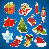 Collection of christmas stickers with corner Stock Photography