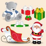 Collection of Christmas symbols, Santa Claus with sleigh, toy be. Ar with gifts, box tied with ribbon stock illustration