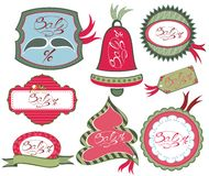 Collection of christmas tags Stock Images