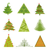 Collection of Christmas trees Stock Images