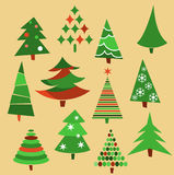 Collection of Christmas trees Stock Image