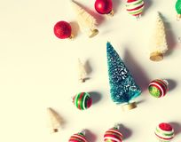 Collection of Christmas trees and ornaments Stock Images