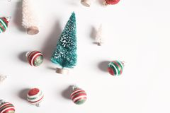 Collection of Christmas trees and ornaments Royalty Free Stock Photography