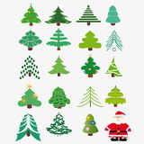 Collection of Christmas trees + Santa Claus Royalty Free Stock Images