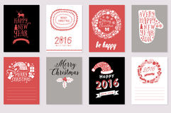 Collection of 8 Christmas vector card templates. Merry Christmas And Happy New Year calligraphic labels. Vector illustration. temp Royalty Free Stock Photography