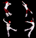 Collection of christmas woman / girl acrobats Royalty Free Stock Images