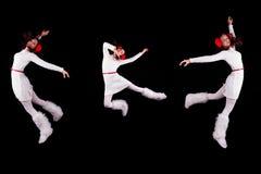 Collection of christmas woman / girl acrobats Royalty Free Stock Photography