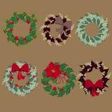 Set of Christmas Wreaths vector illustration