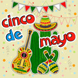 Collection of Cinco de Mayo. Vector illustration. Traditional mexican design elements Royalty Free Stock Images