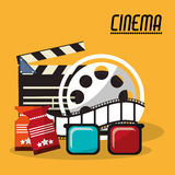 Collection cinema film reel strip glasses and tickets. Vector illustration eps 10 Stock Photo