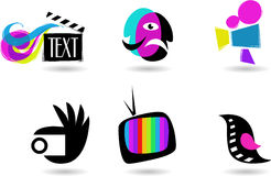 Collection of cinema icons and logos. Collection of cinema, TV and theater icons and logos Royalty Free Stock Photos