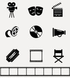Collection of cinema icons. Royalty Free Stock Photo