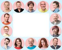 Collection of circle avatar of people. Young and senior men and women faces on pink color. Collection of circle avatar of people and copyspace for your text royalty free stock photo