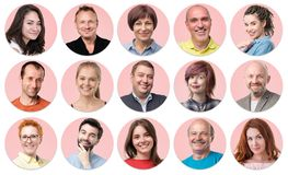 Collection of circle avatar of people. Young and senior men and women faces on pink color. stock photography