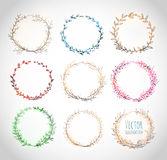 Collection of circle floral borders. Stock Image