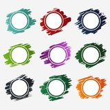 Collection of circle frames design for labels, promo stickers, tags and banners - vector illustration. stock illustration
