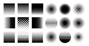 Collection circle halftone element, monochrome abstract graphic for DTP, prepress or generic concepts. Vector illustration.. Isolated on white background Stock Photo
