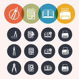 Collection Circle Series icons ,Measurement Instrumentr, notepad Royalty Free Stock Photos