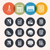 Collection Circle Series icons ,Measurement Instrumentr, notepad Stock Image