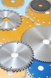 Collection of circular saw blades Royalty Free Stock Images