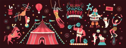 Collection of circus tent and funny show performers - clown, strongman, acrobats, trained animals, trapeze artist royalty free illustration