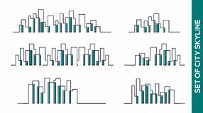 Collection of city Skyline vector design concept. Skycraper or city Skyline vector design concept vector illustration