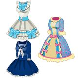 Collection of classic dresses, blue with pink royalty free illustration