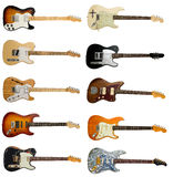 Collection of classic electric guitars Stock Photos