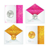 Collection of classic wedding white envelope and Royalty Free Stock Photography