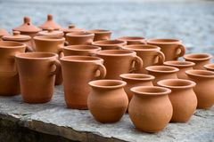 The handmade collection of clay pots in Sheki royalty free stock images