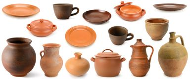 Collection clay and pottery utensils isolated on white. Background Stock Photos