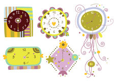 Collection of Clocks. Collection of six cute clocks with varied shapes and colors Stock Photography