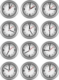 Collection of clocks showing hour Royalty Free Stock Photography