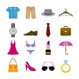 Collection of clothes accessories Stock Image