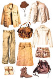 Collection of clothes safari- style Royalty Free Stock Image