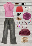 Collection clothing for females or working women, placed on a wh Royalty Free Stock Photos