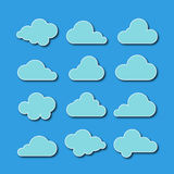 Collection of cloud icons. Vector illustration. On blue background Stock Photography