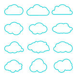 Collection of clouds collection. Thin lines icons. Cloud icons for cloud computing web and app. Different nature cloudscape weathe Stock Photos
