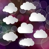 Collection of clouds on glitter purple background. Collection of clouds on a blurred glitter purple background stock illustration