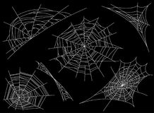 Collection of Cobweb, isolated on black, transparent background. Spiderweb for design. Spider web elements,spooky, scary. Horror decor. Hand drawn silhouette vector illustration